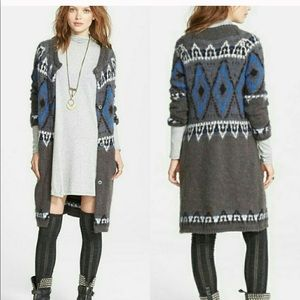 Free People frosted fair isle long cardigan